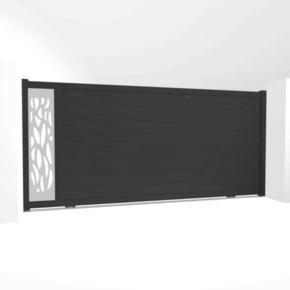 Portail coulissant NEO18 en aluminium haut. 1,80m larg. 4,00m coloris gris 7016  - Gedimat.fr
