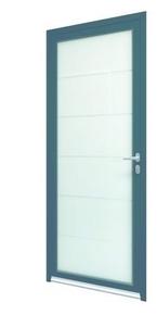 Porte d'entrée Aluminium TINOS gauche poussant haut.2,15m larg.90cm laqué gris - Gedimat.fr