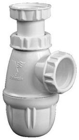Siphon lavabo plastique, réglable min. 50.max. 106mm, entrée 1''1.4, sortie  diamètre32, garde d'eau 50 mm, débit 43 l.mn - Gedimat.fr