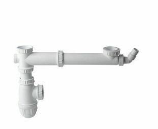 Tube de raccordement avec siphon pour évier 2 bacs avec prise machine à laver - Gedimat.fr