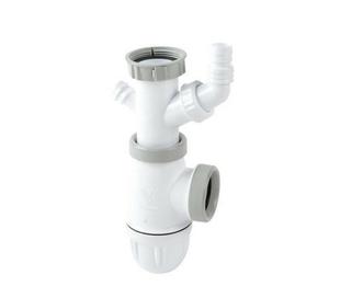 Siphon CONNECTIC bi-matière avec joints intégrés et prise machine à laver ou trop plein,  pour tout type d'évier - Gedimat.fr