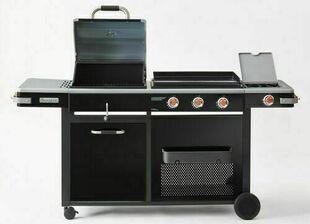 Barbecue charbon, plancha gaz 3 feux et brûleur latéral BI-ENERGIE - Gedimat.fr