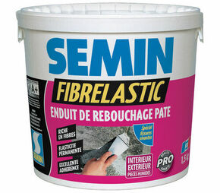 Enduit de rebouchage FIBRELASTIC - pot de 1,50kg - Gedimat.fr
