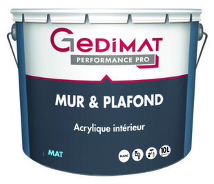 Peinture déco acrylique mur & plafond mat blanc 10L GEDIMAT PERFORMANCE PRO - Gedimat.fr