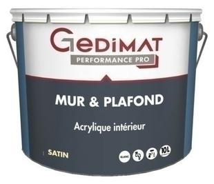 Peinture déco acrylique mur & plafond satin blanc 10L GEDIMAT PERFORMANCE PRO - Gedimat.fr