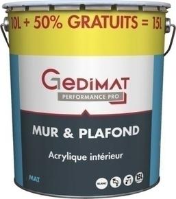 Peinture chantier GEDIMAT acrylique pot de 10L + 50% gratuit ton mat - Gedimat.fr