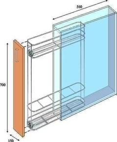 Meuble de cuisine BOIS SCIE BLANC bas 1 porte haut.70cm larg.15cm + pieds réglables de 12 à 19cm - Gedimat.fr