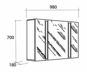 Armoire de toilette long.98,8cm haut.70cm prof.18cm BRILLANCE DECOTEC blanc - Gedimat.fr