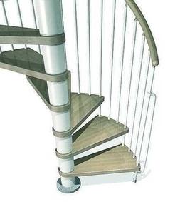 Escalier hélicoïdal kit KLAN acier/bois diam.1,40m haut.2,53/3,06m finition blanc/bois clair - Gedimat.fr