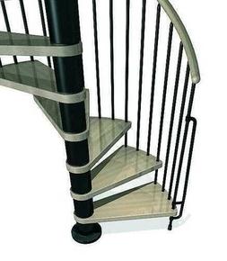 Escalier hélicoïdal kit KLAN acier/bois diam.1,20m haut.2,53/3,06m finition noir/bois clair - Gedimat.fr