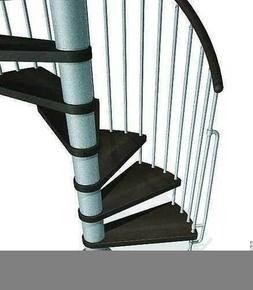 Escalier hélicoïdal kit KLAN acier/bois diam.1,40m haut.2,53/3,06m finition gris/bois foncé - Gedimat.fr