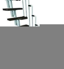 Escalier droit KARINA en acier plastifié gris haut.2,28/2,82m marches en bois (hêtre) foncé finition verni - Gedimat.fr
