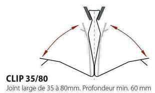 Clips L pour maintien des couvre-joints TOFFOLO de dilatation dont la largeur initiale est comprise entre 35 et 80mm - Gedimat.fr