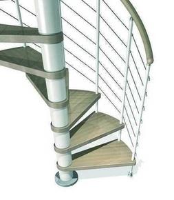 Escalier hélicoïdal KLOE acier/bois diam.1,20m haut.2,53/3,06m finition blanc/bois clair - Gedimat.fr