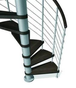 Escalier hélicoïdal KLOE acier/bois diam.1,20m haut.2,53/3,06m finition gris/bois foncé - Gedimat.fr