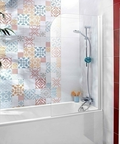 Ecran de baignoire 1 volet TALLY haut.140cm larg.80cm verre transparent - Gedimat.fr