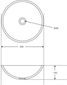 Vasque ronde à poser AUTEUIL pierre haut.15cm diam.42cm noir - Gedimat.fr