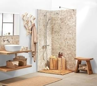 Paroi de douche fixe ALLURE Long.90cm Haut.2,00m profilés aluminium effet chromé verre transparent - Gedimat.fr