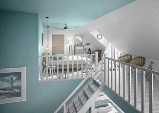 Escalier droit en hêtre lamellé collé avec rampe à lisses aluminium haut.sol à sol 2,80m - Gedimat.fr
