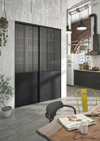 Kit Porte atelier acier noir verre blanc et rail acier noir Haut.250 cm larg. 90.8cm - Gedimat.fr