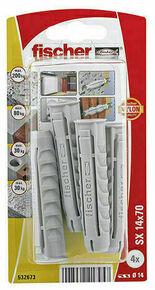Cheville nylon SX NV+collerette - 14x70mm - blister de 4 pièces - Gedimat.fr