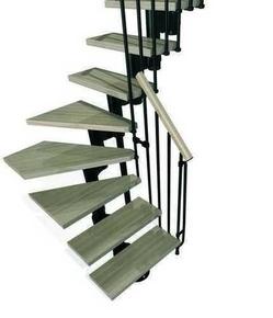 Escalier 1/4 tournant kit KOMPACT acier/bois haut.2,25/3,03m larg.74cm noir/hêtre - Gedimat.fr