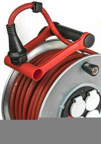 Enrouleur électrique Silver 40m de câble H07RN-F 3G1,5 avec 4 prises à clapet (IP44, Cablepilot, câble rouge), Fabrication Française - Gedimat.fr