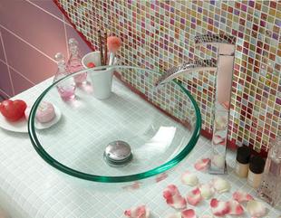 Vasque bol à poser SALSA verre diam.42cm haut.14cm verre transparent - Gedimat.fr