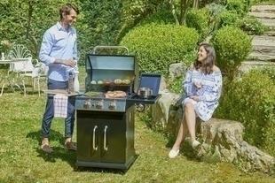 Barbecue gaz 3 brûleurs + 1 brûleur latéral PERTH Noir - Gedimat.fr