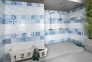 Décor PORTLAND pour mur en faïence satinée GROOVE dim.20x20cm coloris blu - Gedimat.fr