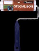 Rouleau microfibres polyester spécial bois et produits fluides manche polypropylène creux larg.180mm diam.40mm - Rouleau tous travaux mousse 2 bords ronds monture longue diam.1,5cm larg.10cm - Gedimat.fr