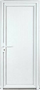 Porte de service DIEPPE en PVC ISO100 blanc gauche poussant haut.2,15m larg.90cm - Porte-fenêtre bois exotique lamellé collé sans aboutage isolation totale 100mm 2 vantaux ouvrant à la française vitrage transparent haut.2,05m larg.1,00m - Gedimat.fr