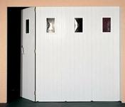 Porte de garage coulissante en PVC Larg.2,40 x Haut.2,15 m Blanc - Support SPHERIQUE ABS - Gedimat.fr