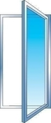 Fenêtre PVC blanc CALINA 1 vantail ouverture à la française gauche tirant haut.75cm larg.40cm vitrage 4/16/4 basse émissivité - Chassis soufflet PVC blanc CALINA haut.60cm larg.1,00m vitrage 4/16/4 basse émissivité - Gedimat.fr