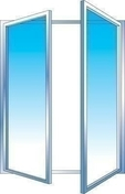 Fenêtre PVC blanc CALINA 2 vantaux ouverture à la française haut.1,25m larg.1,20m vitrage 4/16/4 basse émissivité - Chassis soufflet PVC blanc CALINA haut.60cm larg.1,00m vitrage 4/16/4 basse émissivité - Gedimat.fr