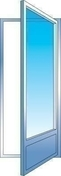 Porte fenêtre PVC blanc CALINA 1 vantail gauche tirant haut.2,15m larg.80cm grand vitrage 4/16/4 basse émissivité avec serrure - Porte d'entrée NADIA Aluminium laqué gauche poussant haut.2,15m larg.90cm gris - Gedimat.fr