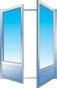 Porte fenêtre PVC blanc CALINA 2 vantaux grand vitrage haut.2,15m larg.1,40m vitrage 4/16/4 basse émissivité - Porte d'entrée KEOPS en aluminium laqué droite poussant haut.2,15m larg.90cm gris/blanc - Gedimat.fr