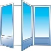 Porte fenêtre PVC blanc CALINA 3 vantaux haut.2,15m larg.1,80m vitrage 4/16/4 basse émissivité - Riflard monobloc acier chromé 22cm - Gedimat.fr