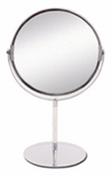 Miroir argent rond double face entourage métallique sur pied grossissant chromé diam.12cm - Armoires de toilette et Accessoires - Salle de Bains & Sanitaire - GEDIMAT