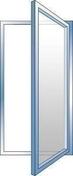 Fenêtre PVC blanc CALINA 1 vantail ouverture à la française gauche tirant haut.60cm larg.40cm vitrage imprimé 4/16/4 basse émissivité - Porte d'entrée Aluminium UTAH avec isolation totale de 160mm droite poussant haut.2,15m larg.90cm laqué blanc - Gedimat.fr