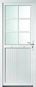 Porte de service isolante BAYEUX en PVC ISO140 Blanc gauche poussant haut.2,15m larg.90cm - Panneau de particules brut STD ép.16mm larg.2,07 long.2,80m - Gedimat.fr