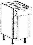 Meuble de cuisine CACHEMIRE bas 1 tiroir 1 porte bt haut.70cm larg.40cm + pieds réglables de 12 à 19cm - Panneau de Particule Surfacé Mélaminé (PPSM) ép.19mm larg.2,07m long.2,80m Hêtre Fayard finition Légère structure bois - Gedimat.fr