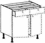 Meuble de cuisine BOIS SCIE BLANC bas 2 tiroirs 2 portes bt haut.70cm larg.120cm + pieds réglables de 12 à 19cm - Cuisines pré-montées - Cuisine - GEDIMAT