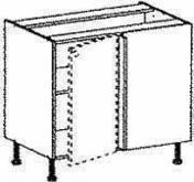 Meuble de cuisine AGATHA bas angle droit haut.70cm larg.100cm + pieds réglables de 12 à 19cm décor métal blanc laqué - Feuille de stratifié HPL sans Overlay ép.0.8mm larg.1,30m long.3,05m décor Blanc Antik finition Brillant - Gedimat.fr