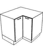 Meuble de cuisine CACHEMIRE bas angle 'L' haut.70cm larg.90cm + pieds réglables de 12 à 19cm - Panneau de Particule Surfacé Mélaminé (PPSM) ép.19mm larg.2,07m long.2,80m Hêtre Fayard finition Légère structure bois - Gedimat.fr
