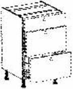 Meuble de cuisine CACHEMIRE bas 3 tiroirs dont 2 casseroliers haut.70cm larg.80cm + pieds réglables de 12 à 19cm - Panneau de Particule Surfacé Mélaminé (PPSM) ép.19mm larg.2,07m long.2,80m Hêtre Fayard finition Légère structure bois - Gedimat.fr
