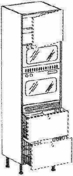 Meuble de cuisine AGATHA module armoire fourmicro-ondes et 2 portes haut.200cm larg.60cm décor métal blanc laqué - Bande de chant mélaminé pré-encollé ép.4mm larg.23mm long.100m Chêne Oakland - Gedimat.fr