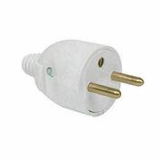 Fiche électrique sortie droite mâle 2 pôles + terre 16A coloris blanc - Fiches - Douilles - Adaptateurs - Electricité & Eclairage - GEDIMAT