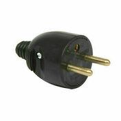 Fiche électrique sortie droite mâle 2 pôles + terre 16A coloris noir - Fiches - Douilles - Adaptateurs - Electricité & Eclairage - GEDIMAT