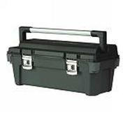 Boite à outils polypropylène avec sangle de maintien d'outils dans le couvercle et porte outils intégré haut.27cm long.65cm - Boîtes à outils - Coffres - Servantes - Quincaillerie - GEDIMAT